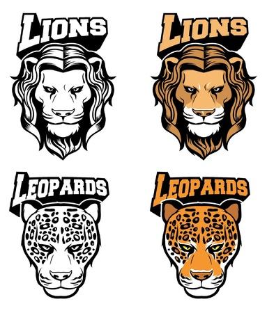 Lion and leopard head in vector  Stock Illustratie