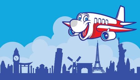 avion caricatura: dibujos animados avi�n alrededor del mundo Vectores