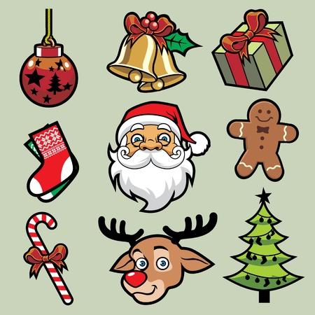 christmas set in cartoon style  Vector
