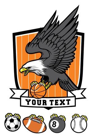 eagle gripping a various sport balls  Illustration