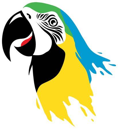loros verdes: macaw pájaro en estilo de pintura gota