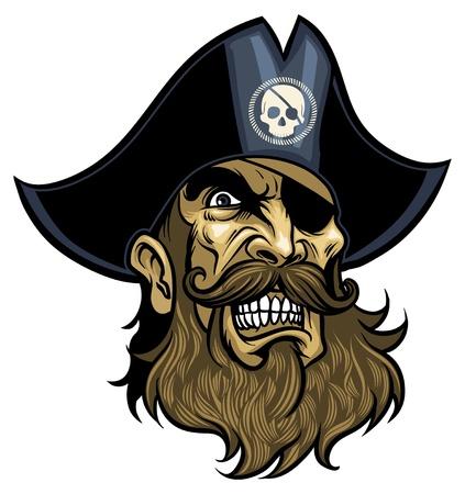 pirata: Cara Pirata enojado, vestido con sombrero y parche de ojo Vectores