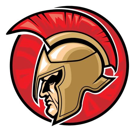 cascos romanos: cabeza de guerrero espartano en un círculo de fondo