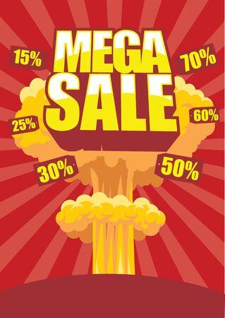 Mega sale poster with atom bomb effect on a background  Illustration