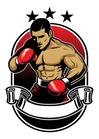 male boxer: boxing design with banner