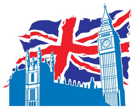 london big ben: London Big Ben and palace with United Kingdom flag background Illustration