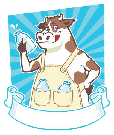 anthropomorphous: happy cow hold the milk bottle