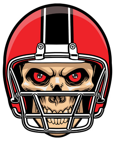 gridiron: skull of football player wearing a helmet