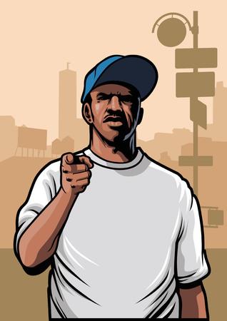 bandits: gangster wearing a blank white tee