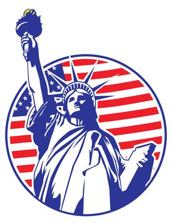 civic: liberty statue of New York Illustration