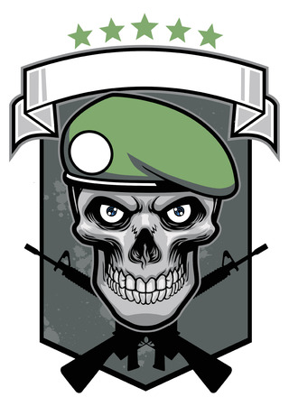 soldier with rifle: skull of soldier with crossing rifle and shield background Illustration