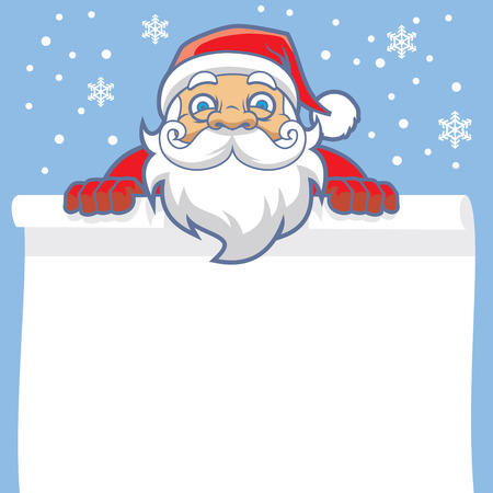 cristian: cartoon of santa claus with blank paper as a copy space Illustration
