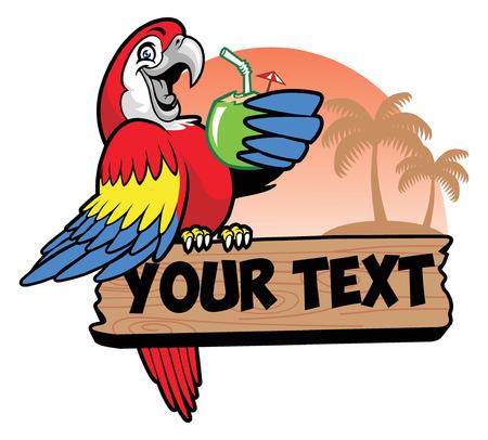 Parrot pije kokos i stoi na znaku