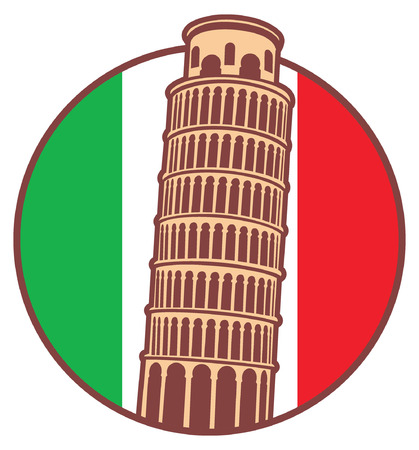 siena italy: pisa tower and the flag of Italy