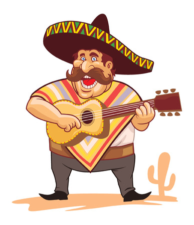 palying: mexican man singing and palying guitar