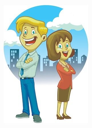 woman tie: cartoon of man and women in a daily office suit