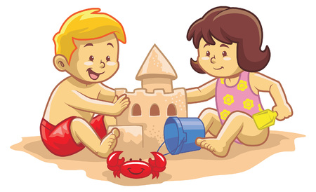 sand castle: kids play around the beach by building a sand castle Illustration