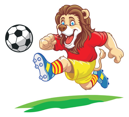 cartoon of lion playing soccer Stock Illustratie