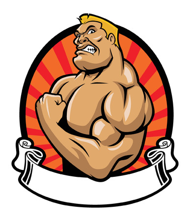 cartoon of bodybuilder with blank ribbon for a text space