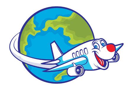 지구 주위를 비행하는 만화 비행기 일러스트