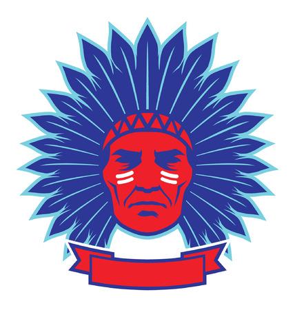americano jefe indio nativo Ilustración de vector