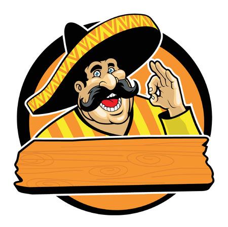traje mexicano: Feliz hombre mexicano con sombrero y mano bien firme