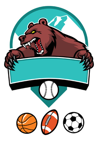 angry sky: bear mascot sign, with various of sport ball