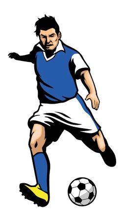 サッカー選手がボールを蹴るします。