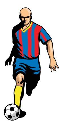 サッカー選手がボールを蹴る。