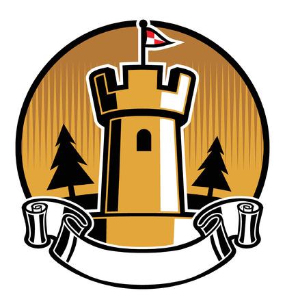 Herenhuis mascotte badge ontwerp.