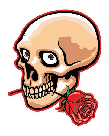 Skull bite the rose. Reklamní fotografie - 91948901