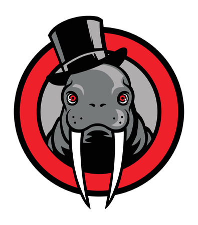 Head of walrus mascot wearing hat.