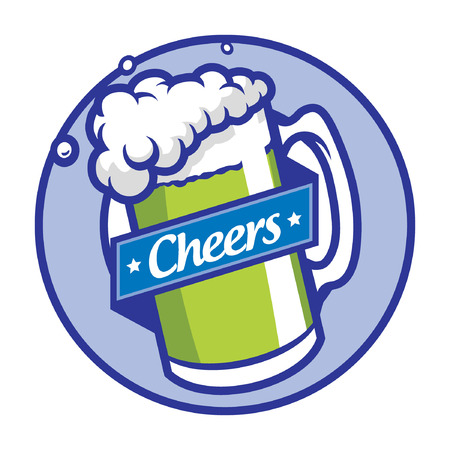 Beer glass symbol patch design. 向量圖像