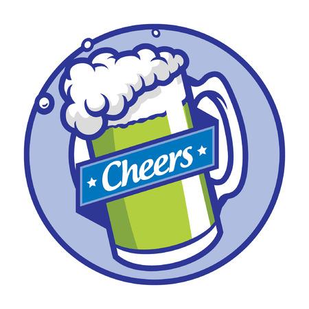 Beer glass symbol patch design. Illustration
