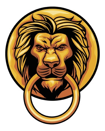 Lion head knocker door decoration.