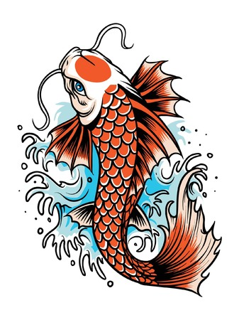 Koi fish japan illustration