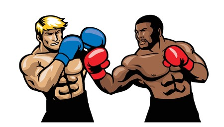 Illustratie van een boksgevecht