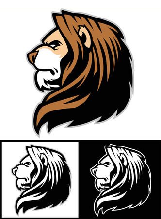 Set of lion head mascot