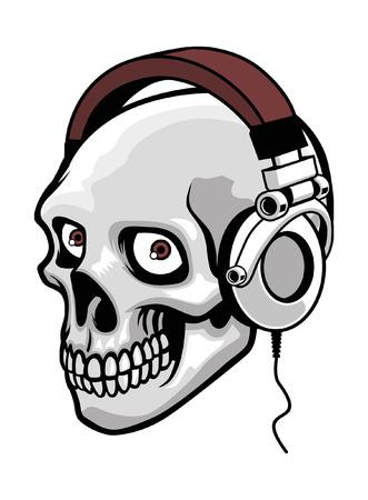 Schedel hoofdtelefoon dragen Stock Illustratie