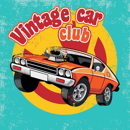 vintage club car design in vintage style