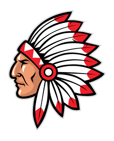 head mascot of native american warrior  イラスト・ベクター素材