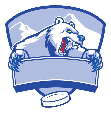 Angr Eishockey Maskottchen des Eisbären Standard-Bild - 91884598