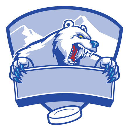 angr ice hockey mascot of polar bear Illustration