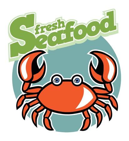 crabas a cartoon mascot for seafood concept