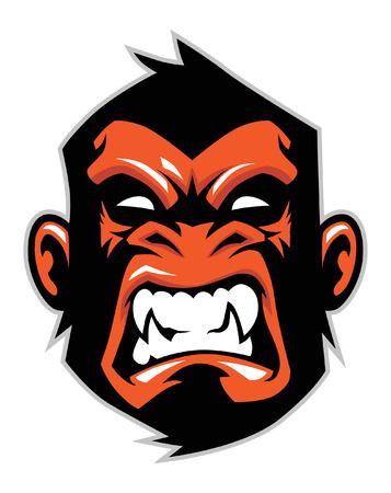 angry monkey head Vector illustration. Vettoriali