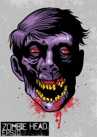 Hand drawn illustration of zombie head