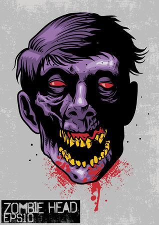 Hand drawn illustration of zombie head