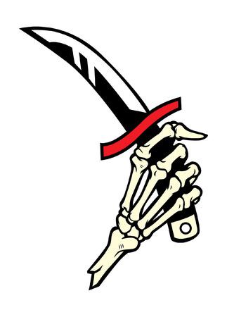 Hand van skelet dat de dolk houdt Stock Illustratie