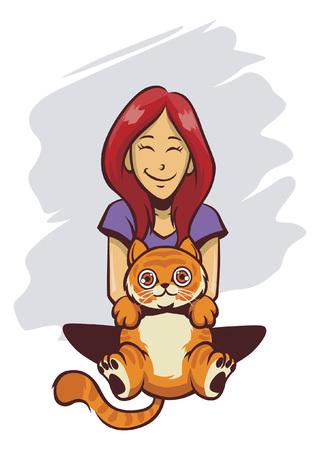猫とかわいい女の子