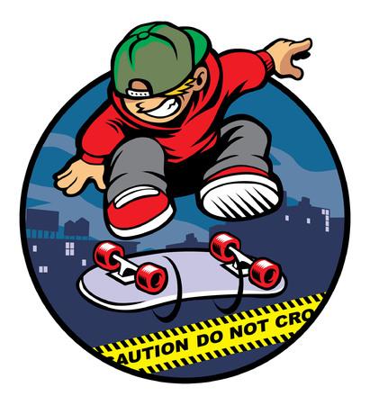 경찰 라인을 통해 점프 스케이트 보드를 연주하는 소년 일러스트